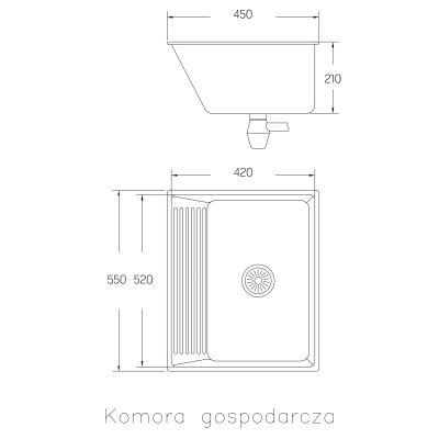 Komora gospodarcza 55x45 cm SKN090T Kuchinox Chios