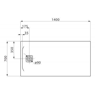 Brodzik prostokątny 140x80 cm H2129530000001 Laufen Pro