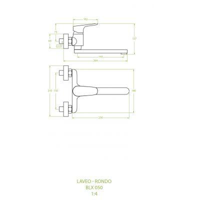 Bateria umywalkowa ścienna BLX050D Laveo Rondo
