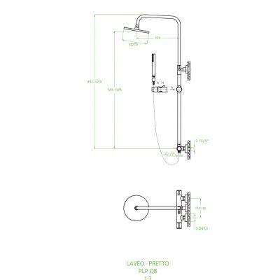 Zestaw prysznicowy PLP70OB Laveo Pretto