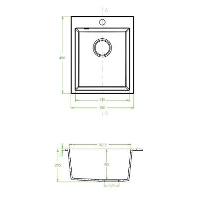 Zlewozmywak granitowy 48x39 cm SBH710T Laveo Chichi