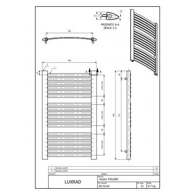 Grzejnik łazienkowy 58x94.5 cm KAST945580S040 Luxrad Kastor