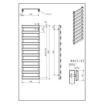 Grzejnik łazienkowy 40x123 cm SCN1230400S040 Luxrad Scala New