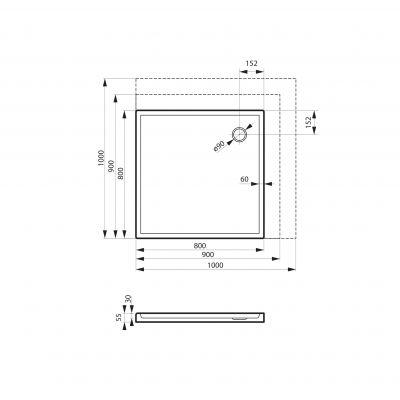 Brodzik kwadratowy 100 MSBRD102A100100 Massi Primero