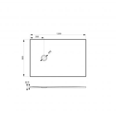 Brodzik prostokątny 120x80 cm MSBRKLE12080 Massi Legno