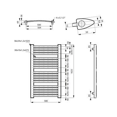 Grzejnik łazienkowy 60x100 cm MSGGAR10060CB Massi Garama
