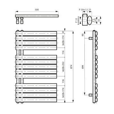 Grzejnik łazienkowy 50x90 cm MSGSIL9050B Massi Silema