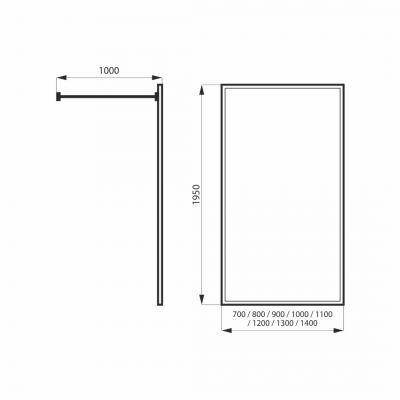 Ścianka prysznicowa walk-in 80 cm MSKPFA102080G Massi Walk In