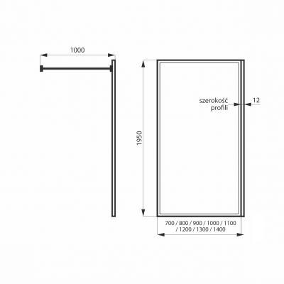 Ścianka prysznicowa walk-in 70 cm MSKPFA102170G Massi Walk In Fix