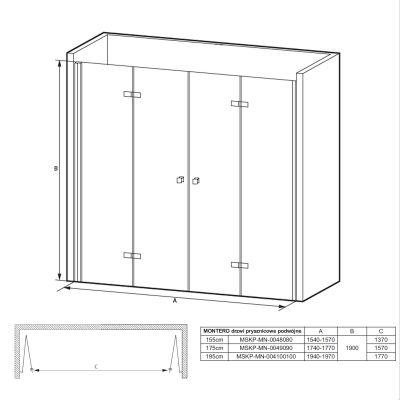 Drzwi prysznicowe składane MSKPMN004100100 Massi Montero System