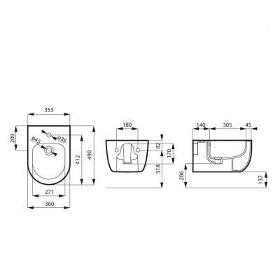 Zestaw miska + deska wolnoopadająca wisząca MSM0013RIMSLIMGR Massi Molis