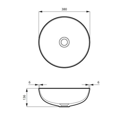 Umywalka okrągła 38x38 cm MSU0013MG Massi Molis