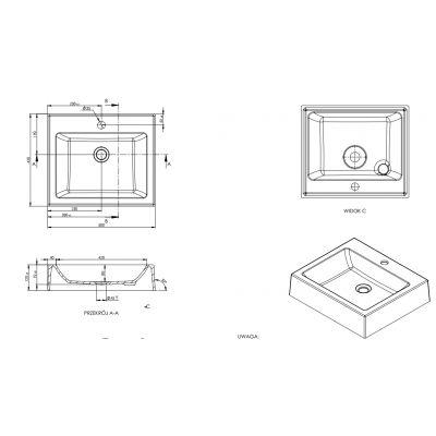 Umywalka prostokątna 50x43 cm MSU2610B Massi Singur