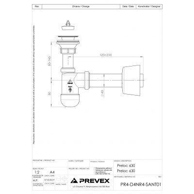 Syfon z korkiem butelkowy 1715009 Prevex Preloc Basic