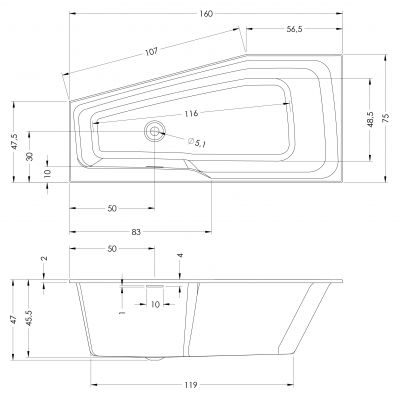 Wanna narożna 160x75 cm BR13005 Riho Rethink Space