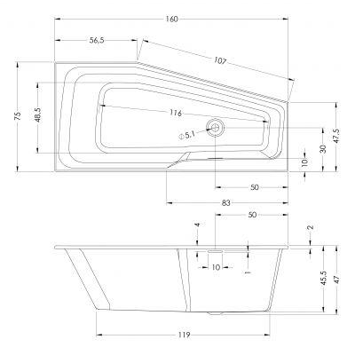 Wanna narożna 160x75 cm BR14005 Riho Rethink Space