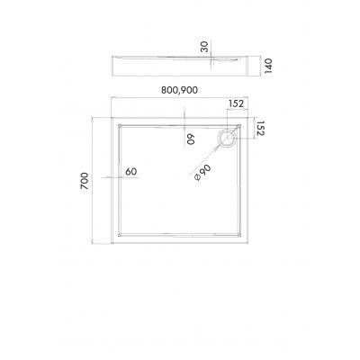 Brodzik prostokątny 80x70 cm 301253 Schedpol Competia