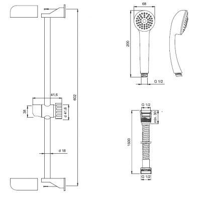 Zestaw prysznicowy AU56001 Invena Ava New