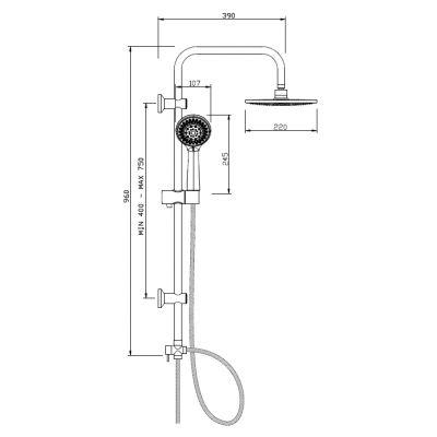 Zestaw prysznicowy AU25001 Invena Verso