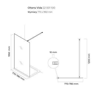 Ścianka prysznicowa 80 cm 22001100 Oltens Vida