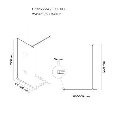 Ścianka prysznicowa 90 cm 22002100 Oltens Vida