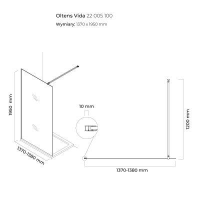 Ścianka prysznicowa 140 cm 22005100 Oltens Vida
