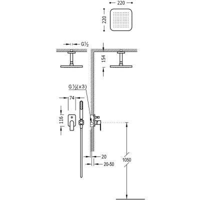 Zestaw prysznicowy 20018080 Tres Loft-Tres