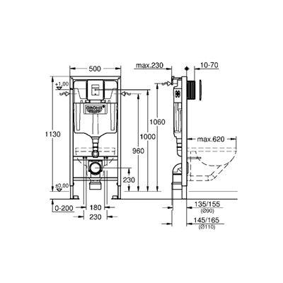 Stelaż podtynkowy z przyciskiem spłukującym do miski wiszącej 39450000 Grohe Rapid SL