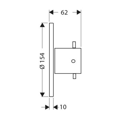 Zawór odcinający podtynkowy Axor Starck DN15/DN20 10970000, element zewnętrzny