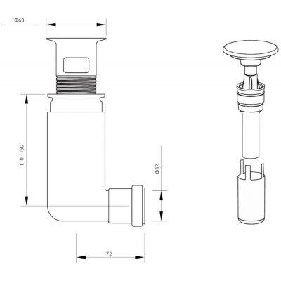 Korek umywalkowy z syfonem NHC010C Deante Click-Clack