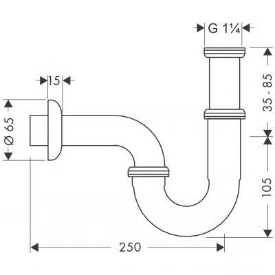 Syfon do umywalki rurowy chrom 53002000 Hansgrohe