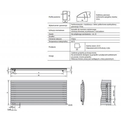 Grzejnik pokojowy 61.5x140 cm podłączenie dolne MD01400061514L071000 Enix Madera (MD)