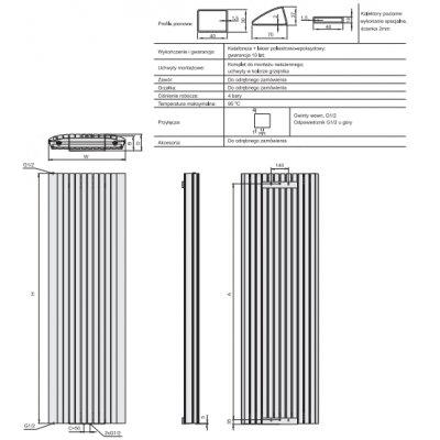 Grzejnik pokojowy 180x42 cm podłączenie dolne MSP0420180014P081000 Enix Memfis Plus (MSP)