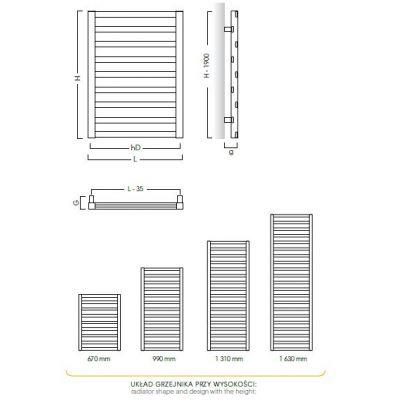 Grzejnik łazienkowy 40x131 cm PPY40130 Instal Projekt Poppy