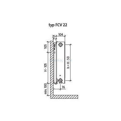 Grzejnik pokojowy 60x80 cm podłączenie dolne FCV22x600x800L Purmo Plan Ventil Compact