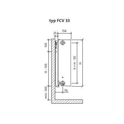 Grzejnik pokojowy 60x140 cm podłączenie dolne FCV33x600x1400L Purmo Plan Ventil Compact