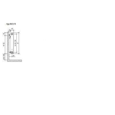 Grzejnik pokojowy 50x50 cm podłączenie dolne RCV11x500x500L Purmo Plan Ventil Compact