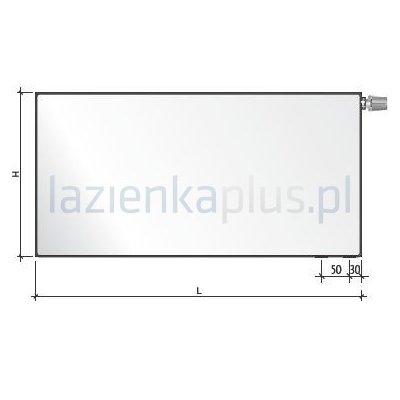 Grzejnik pokojowy 50x50 cm podłączenie dolne FCV11x500x500L Purmo Plan Ventil Compact