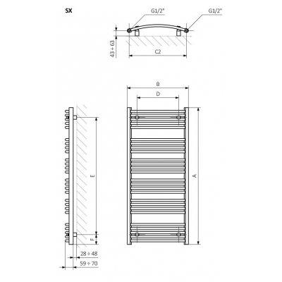 Grzejnik łazienkowy 60x78.6 cm WGDOM078060K916ZX Terma Domi
