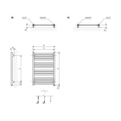 Grzejnik łazienkowy 53x118.5 cm WZMRN118053K916S8U Terma Marlin