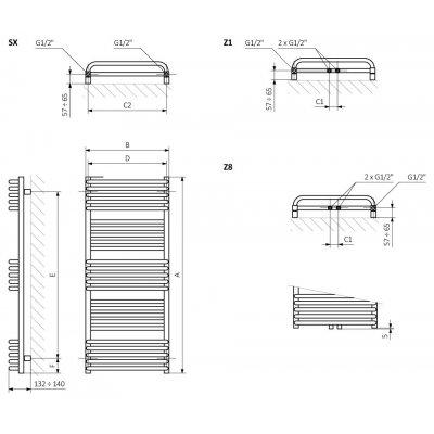 Grzejnik łazienkowy 50x78 cm WGPAL078050K916ZX Terma Pola