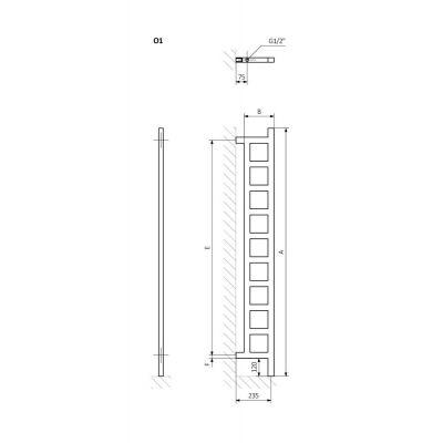 Grzejnik łazienkowy 20x166 cm WGEAW166020K916O1 Terma Easy DW