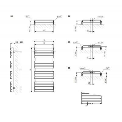 Grzejnik łazienkowy 50x111 cm WGWTB111050K916SX Terma Warp T Bold