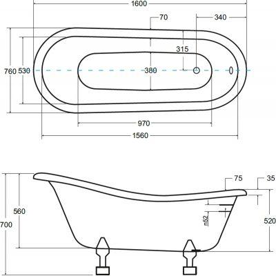 Wanna wolnostojąca 160x77 cm #WKO160WB Besco Otylia