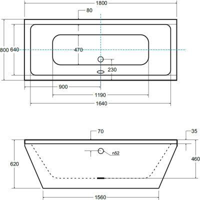Wanna wolnostojąca 180x80 cm #WKV180WO Besco Vera