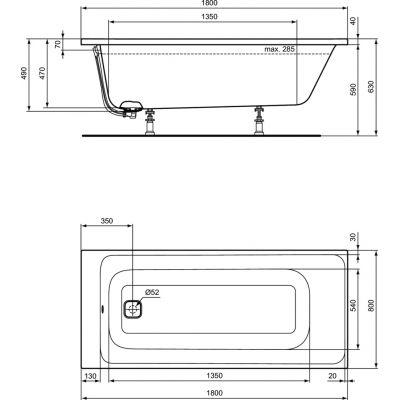 Wanna prostokątna 180x80 cm E397401 Ideal Standard Tonic II