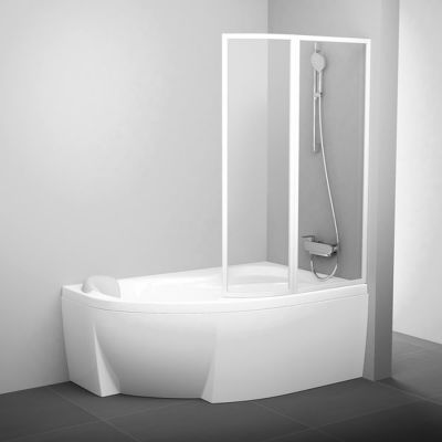 Parawan nawannowy prawy 92,5x150 cm VSK2 Ravak 76P80100Z1 AntiCalc profil biały szkło transparent
