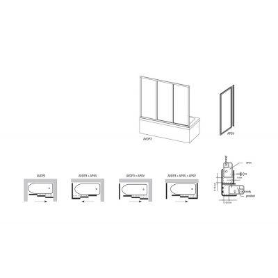 Ścianka nawannowa jednoelementowa stała APSV-75 RAVAK 95030102Z1 profil biały szkło transparent