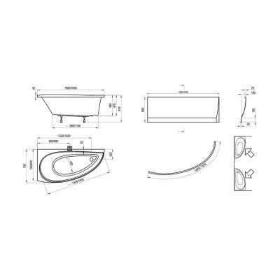 Wanna asymetryczna lewa 150x75 cm Avocado Ravak CT01000000