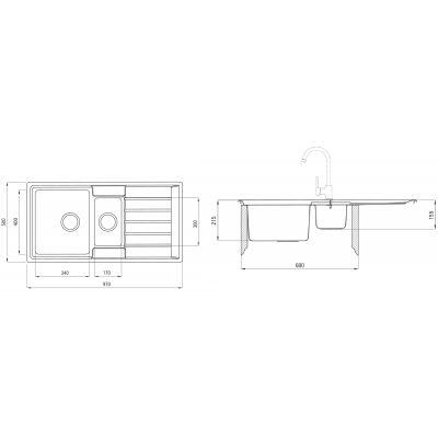 Zlewozmywak stalowy 97x50 cm ZPA0513 Deante Avior